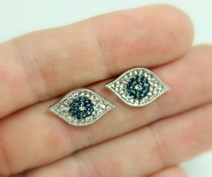 Evil Eye Earrings Stainless Steel Pave Blue Crystal Eyes Stud Earring Women Girl Hamsa Kabbalah Jewelry Gift