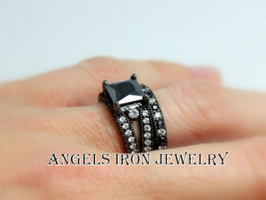Black Gold Filled Ring Set Princess Cut Wedding Engagement Promise Rings Unique