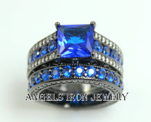 Load image into Gallery viewer, SALE Black Gold Ring Women Engagement Ring Set High Quality Bright Blue Sapphire CZ