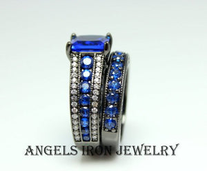SALE Black Gold Ring Women Engagement Ring Set High Quality Bright Blue Sapphire CZ
