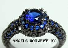 Load image into Gallery viewer, Black Gold Wedding Engagement Promise Ring Hydro Blue Sapphire CZ