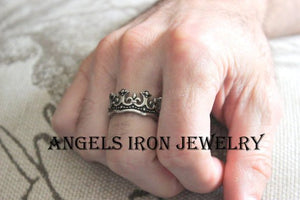 Kings Crown Ring Men Stainless Steel Band Unique Kings Silver Rings Jewelry Thick Solid Bands Wedding Gift for Him