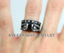 Load image into Gallery viewer, Black Gold Filled Ring Set Princess Cut Wedding Engagement Promise Rings Unique