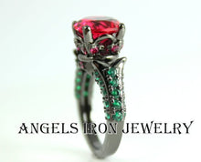Load image into Gallery viewer, Black Gold Ring Women Red Ruby Emerald Zirconia Wedding Engagement Anniversary Promise Rings Goth Unique Jewelry Women Gift for her