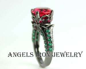 Black Gold Ring Women Red Ruby Emerald Zirconia Wedding Engagement Anniversary Promise Rings Goth Unique Jewelry Women Gift for her