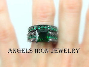 Black Gold Engagement Ring Set Princess Cut Green Emerald Wedding Anniversary Promise Rings Women