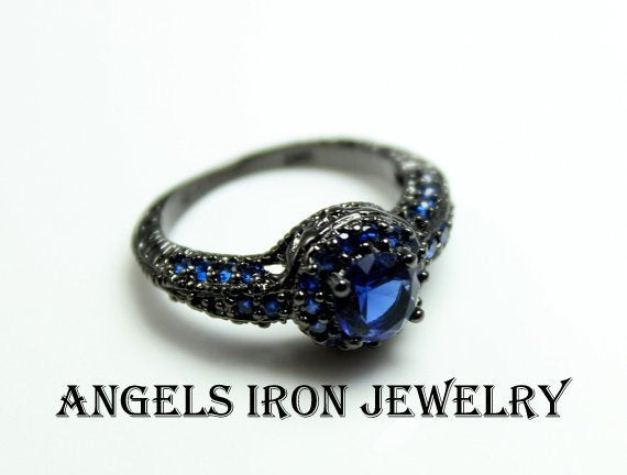 Black Gold Wedding Engagement Promise Ring Hydro Blue Sapphire CZ