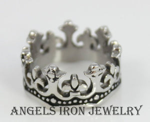 Crown Ring Mens Stainless Steel Band Unique Kings Silver Rings Jewelry Thick Solid Bands Wedding Gift for Him