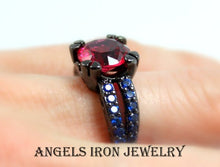 Load image into Gallery viewer, Black Gold Engagement Ring Red Ruby Blue Sapphire CZ Wedding Anniversary Promise Rings Goth Unique Jewelry