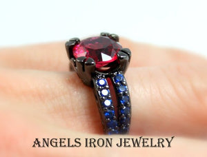 Black Gold Engagement Ring Red Ruby Blue Sapphire CZ Wedding Anniversary Promise Rings Goth Unique Jewelry