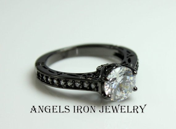 Black Ring Solitaire Round Cut Diamond  CZ Wedding Engagement Rings Promise Unique Goth Jewelry Women Gift for her