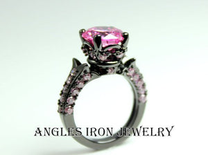 Black Engagement Ring Pink Sapphire Wedding Anniversary Promise Rings Unique Large Big Stone Jewelry Women