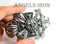 Load image into Gallery viewer, Stainless Steel Belt Buckle Fleur di Lis Cross Medium Size Men Women High Quality Western Biker Buckles Accessories Gift