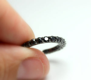 Black Gold Eternity Ring Women Wedding Band Engagement Promise Rings Anniversary Band