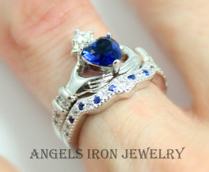 SALE Claddagh Ring Set Women Blue White Gold Filled Sapphire Heart Jewelry Irish Celtic Rings Wedding Engagement Promise Silver Jewelry