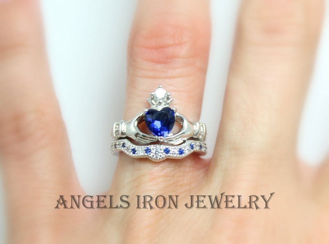 Claddagh Ring Set Women Blue White Gold Filled Sapphire Heart Jewelry Irish Celtic Rings Wedding Engagement Promise Silver Jewelry