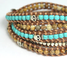 "Load image into Gallery viewer, Brown Leather Wrap Bracelet Turquiose Natural Jasper Silver Skull Detail Women Men Unisex Bracelets 33-33"" length High Quality Jewelry"