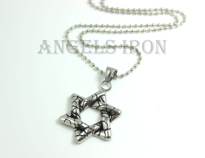 Star of David Necklace Stainless Steel Chain Men Solid Pendant High Qaulity Mens Biker Jewelry Gift