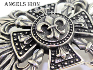 Stainless Steel Belt Buckle Fleur di Lis Cross Medium Size Men Women High Quality Western Biker Buckles Accessories Gift