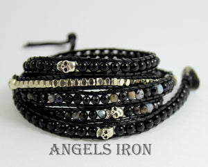 "Black Onyx Leather Wrap Bracelet Silver Skull Detail Women Men Unisex Bracelets 33-33"" length High Quality Jewelry"