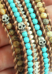 "Brown Leather Wrap Bracelet Turquiose Natural Jasper Silver Skull Detail Women Men Unisex Bracelets 33-33"" length High Quality Jewelry"
