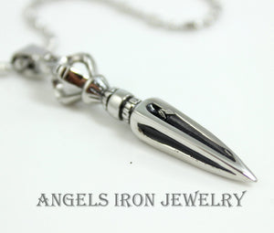 Dagger Necklace Stainless Steel Chain Men Solid Pendant High Quality Mens Silver Biker Jewelry Gift
