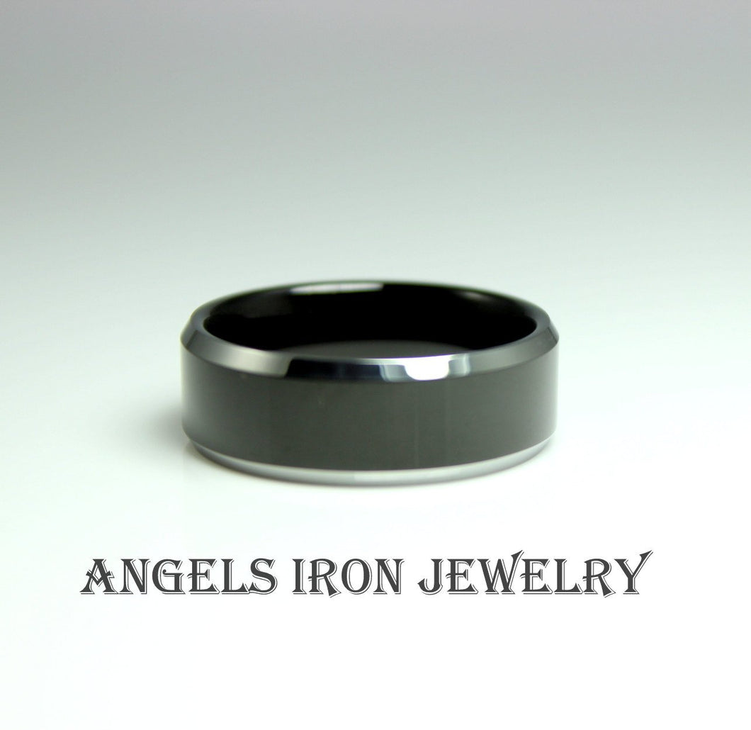 Tungsten Steel Ring Men Wedding Band 8mm Black Ring Two tone Dark Gunmetal Jewelry gift