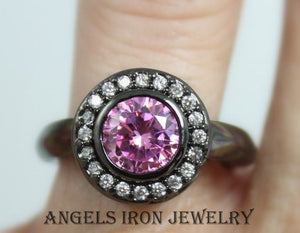 Black Ring Women Gold Filled Pink Sapphire Wedding Engagement Rings Promise Unique Gothic Jewelry Gift for her
