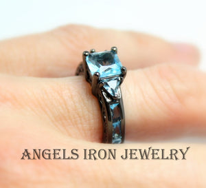 Black Gold Ring Women Wedding Engagement Promise Rings Hydro Blue Topaz