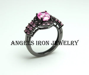 Black Gothic Ring Women Wedding Engagement Anniversary Promise Rings