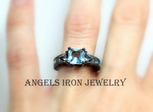 Black Gold Ring Women Wedding Engagement Promise Rings Hydro Blue Topaz Unique Gothic Jewelry Women Gift for her