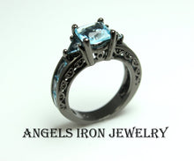 Load image into Gallery viewer, Black Gold Ring Women Wedding Engagement Promise Rings Hydro Blue Topaz