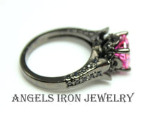 Load image into Gallery viewer, Black Engagement Wedding Anniversary Promise Rings Pink Sapphire CZ Unique Women