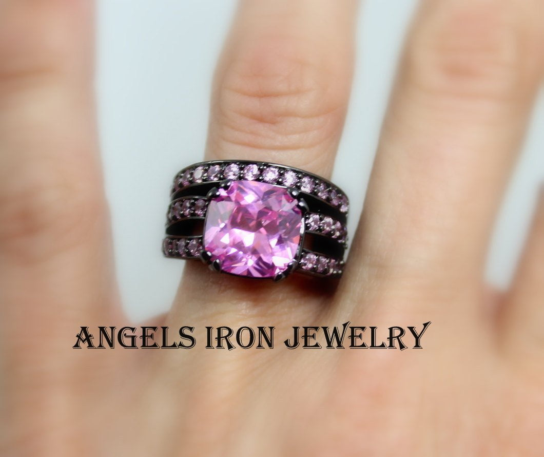 Black Ring Set Women Pink Sapphire Zirconia Wedding Engagement Rings