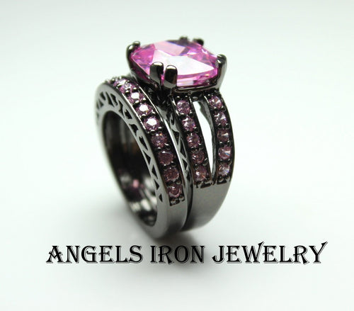 SALE Black Ring Women Pink Sapphire Set High Quality Wedding Engagement Promise Rings Unique Gothic Jewelry Large Big Gift for her