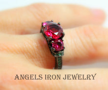 Load image into Gallery viewer, Black Ring Women High Quality Gold Filled Wedding Engagement Promise Rings Unique Gothic Jewelry Ruby Emerald Goth Gift