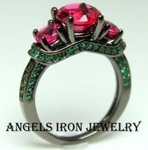 Load image into Gallery viewer, Black Ring Women High Quality Gothic Wedding Engagement Promise Rings Unique Gothic Jewelry Ruby Emerald Goth Gift