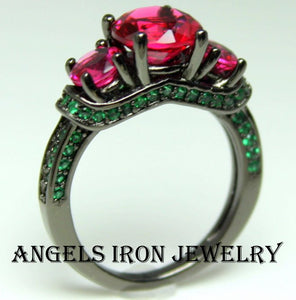 Black Ring Women High Quality Gold Filled Wedding Engagement Promise Rings Unique Gothic Jewelry Ruby Emerald Goth Gift