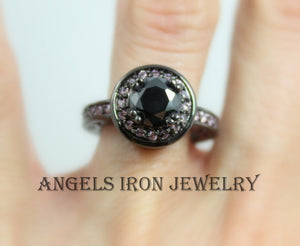 Black Gothic Enagement Ring Women Wedding Anniersary Promise Rings Unique Pink Jewelry Valentines Gift