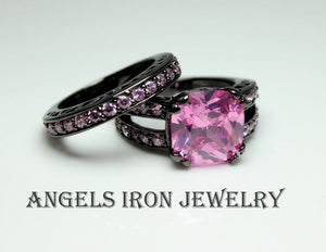 Black Ring Women Pink Sapphire Set High Quality Wedding Engagement Promise Rings Unique Gothic Jewelry Large Big Gift for her