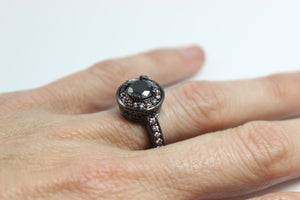 Black Gothic Enagement Ring Women Wedding Anniersary Promise Rings