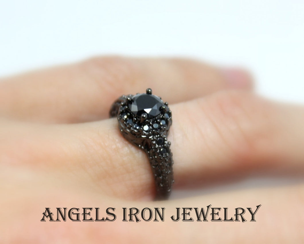 SALE Black Ring Wedding Engagement Anniversary Promise Ring Unique Vintage Rings Victorian Jewelry Women Gift for her