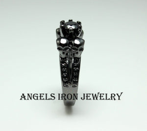Black Skull Engagement Anniversary Promise Ring Women Unique Skulls Gothic Jewelry Women Gift for her
