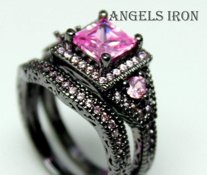 Black Engagement Ring Set Princess Cut Lab Created Pink Sapphire Wedding Promise Ringsring