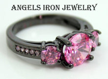Load image into Gallery viewer, Black Gold Ring Women Pink Sapphire High Quality CZ Wedding Engagement Rings