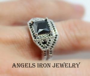 Black Diamond Engagement Ring Set Women White Gold Filled Set Wedding Promise Rings Unique