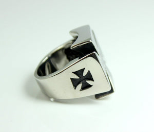 Maltese Cross Ring Men 316LTusk Stainless Steel Rings High Quality Biker Gothic Rocker Jewelry Men's Knight Templer Gift for Him