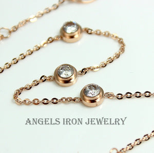 Stainless Steel Necklace Bracelet Set Women Rose Gold Diamond Zirconia Crystal Minimalist Jewelry Simple Delicate Gift for her