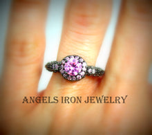 Load image into Gallery viewer, Black Gold Ring Pink Sapphire Wedding Engagement Promise Rings Unique Vintage
