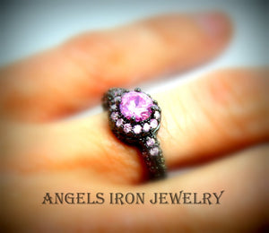 Black Gold Ring Pink Sapphire Wedding Engagement Promise Rings Unique Vintage